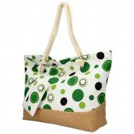 Velká plážová taška přes rameno v retro stylu zelená B6805
