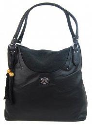 Velká moderní černá dámská kabelka přes rameno 4620-BB
