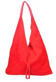 Kožená velká dámská kabelka Alma červená