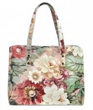 Kožená barevná dámská kabelka do ruky v květovaném motivu Florencie