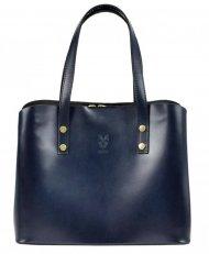 Kožená modrá dámská kabelka do ruky Florencie