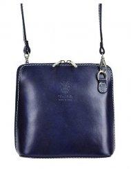 Kožená malá dámská crossbody kabelka tmavá modrá