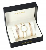 SKYLINE dámská dárková sada bílo-zlaté hodinky s náramky SM0013