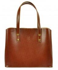 Kožená hnědá dámská kabelka do ruky Florencie