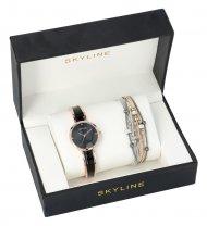 SKYLINE dámská dárková sada černo-zlaté hodinky s náramkem 2950-33