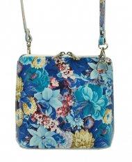 Kožená malá dámská crossbody kabelka s motivem květů modrá