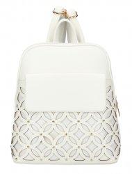 Smetanově bílý dámský módní batůžek v perforovaném designu AM0109