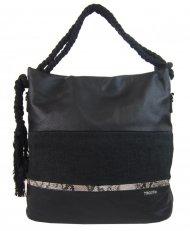 Velká černá dámská kabelka s lanovými uchy 4543-BB