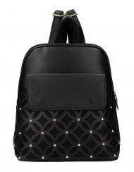 Černý dámský módní batůžek v perforovaném designu AM0109