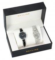 SKYLINE dámská dárková sada černo-stříbrné hodinky s náramkem 2950-32