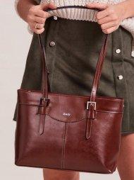 Kožená dámská kabelka přes rameno hnědá
