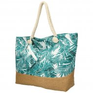 Velká plážová taška s tyrkysovými lístky B6804