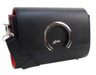 Luxusní dámská matná crossbody kabelka černo-červená KM014 GROSSO