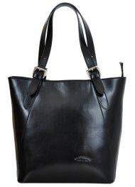 Velká černá kožená dámská kabelka přes rameno L Artigiano
