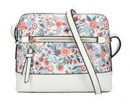 Bílá dámská crossbody kabelka s potiskem květin AM0120