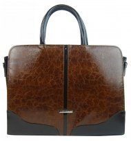 """Elegantní dámská aktovka / taška na notebook 15.6"""" hnědá s prskaným vzorem ST03 GROSSO"""