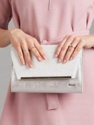 Stříbrné brokátové luxusní dámské psaníčko W52 ROVICKY