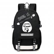 Among Us svítící černý studentský batoh, USB port