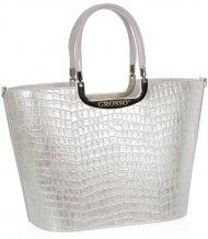 Elegantní stříbrná kroko kabelka do ruky S7 GROSSO