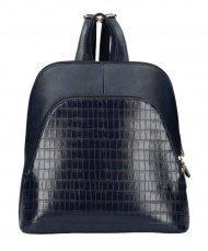 Tmavě modrý dámský módní batůžek v kroko designu AM0106