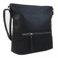 Větší crossbody dámská kabelka černá s čelní kapsou NH8101