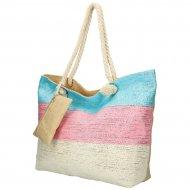 Velká plážová taška modro-růžovo-krémová se stříbrnou nití B6806