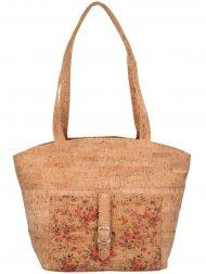 Korková přírodní dámská kabelka přes rameno s růžovými kvítky