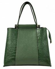 Kožená zelená kroko dámská kabelka do ruky Luka