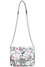 Crossbody dámská kabelka na řetízku v květovaném motivu XS7033 bílá