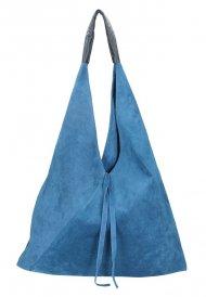 Kožená velká dámská kabelka Alma džínová modrá