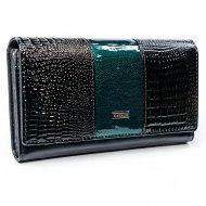 Cavaldi černo-zelená dámská kroko peněženka kůže/PU v dárkové krabičce
