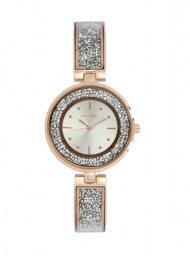 Skyline Náramkové dámské hodinky růžovo zlaté s kamínky 9550-6