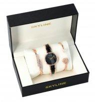 SKYLINE dámská dárková sada černo-zlaté hodinky s náramky SM0007