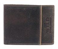 Hnědá pánská kožená broušená peněženka v krabičce WILD