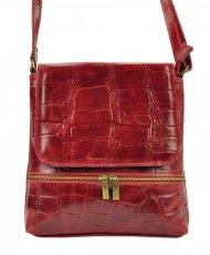 Kožená dámská crossbody kabelka v kroko designu červená