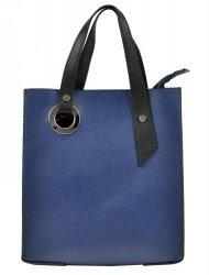 Kožená modrá obdélníková dámská kabelka do ruky