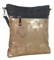 Elegantní malá dámská crossbody kabelka 16174 šedo-zlatá