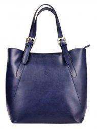 Velká modrá kožená dámská kabelka přes rameno