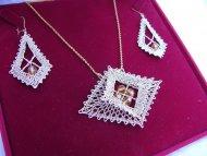 Set kosočtverec zlatý - náhrdelník + náušnice