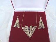 Set šipka zlatá (fialová perlička)  - náhrdelník + náušnice
