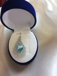 Náhrdelník Swarovski slza stříbrná (krystal modrý)