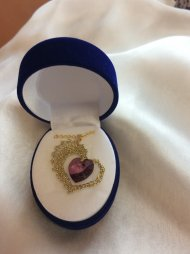 Náhrdelník Swarovski srdce zlaté (krystal fialový)