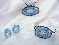 Set s náramkem ovál modrý - náhrdelník + náušnice + náramek