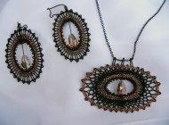 Set ovál černý - náhrdelník + náušnice