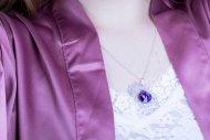 Valentýna SWAROVSKI (náhrdelník stříbrný, krystal fialový)