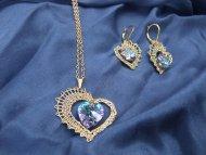 Set Swarovski srdce zlaté (krystal modrofialový) - náhrdelník + náušnice
