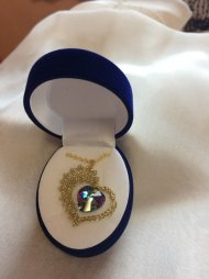 Náhrdelník Swarovski srdce zlaté (krystal modrofialový)