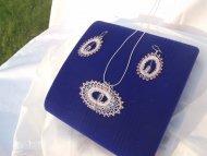 Set ovál růžový - náhrdelník + náušnice