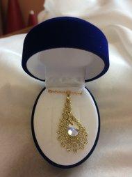 Náhrdelník Swarovski slza zlatá (krystal čirý)