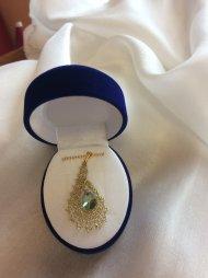 Náhrdelník Swarovski slza zlatá (krystal zelenofialový)